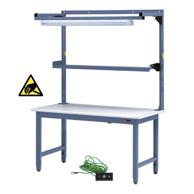 Iac Steel Workbench W Overhead Light Amp Utility Shelf 30