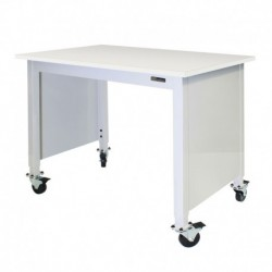 """MOBILE CHEMICAL-RESISTANT LAB TABLE - ADJUSTABLE 30-36"""" (H) x 24-36"""" (W) X 48-96"""" (L) - w/End Panels"""