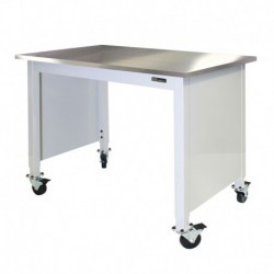 "MOBILE STAINLESS STEEL LAB TABLE - ADJUSTABLE 30-36"" (H) x 24-36"" (W) X 48-96"" (L) w/End Panels"