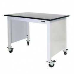 "MOBILE TRESPA LAB TABLE - ADJUSTABLE 30-36"" (H) x 24-36"" (W) X 48-96"" (L) w/End Panels"