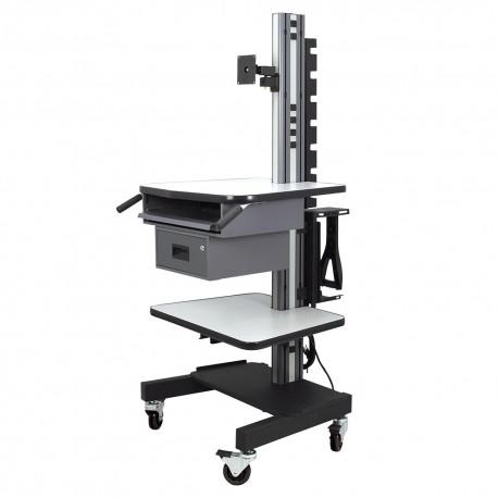 IAC S8 Mobile/Rolling Computer Cart w/ Keyboard Tray, Shelf & Drawer
