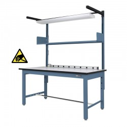 Industrial ESD Workbench / Work Table w/ Shelf / Light & Electrical Channel