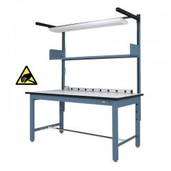 Industrial ESD Workbench / Work Table w/ Shelf / Light & Electrical Channel